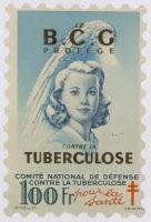 """Timbre antituberculeux 1948 """"Le BCG protège contre la tuberculose"""""""