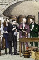 Pasteur travaillant sur le vin dans une cave