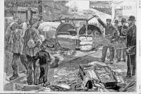 """""""Le choléra en Espagne : désinfection des bagages des voyageurs à la gare d'Hendaye"""" in L'Illustration du 28-06-1890"""