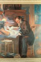 Elie Metchnikoff dans son bureau. Huile sur toile, signée Perelmann, 1907