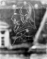 Caricature d'Elie Metchnikoff gravée sur une vitre