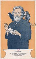 Caricature d'Elie Metchnikoff (1845-1916) illustrant ses travaux sur la syphilis, la fermentation et la vieillesse.