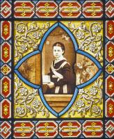 Marie-Louise Pasteur enfant sur le vitrail du petit salon. Vitrail de Gsell v. 1870.