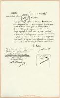 Brevet manuscrit de Louis Pasteur du 11 avril 1865 pour la conservation des vins.