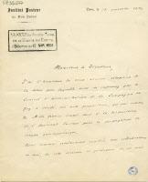 Lettre de Louis Pasteur remerciant la Compagnie du Gaz, 1894, recto