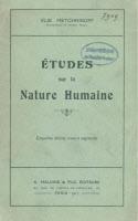"""Couverture de """"Études sur la nature humaine"""" par Elie Metchnikoff."""