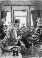 Louis Pasteur ramenant des sarments de vigne