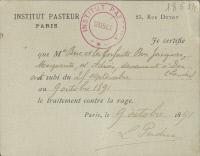 Rage, certificat vaccination, 1891