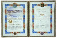 Diplôme du prix Nobel de physiologie ou médecine remis à Jules Bordet (1870-1961) en 1920