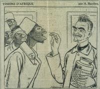 Caricature d'Emile Marchoux distribuant des pastilles de quinine