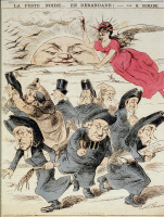 """Caricature """"La peste noire... en débandade!"""" par H. Demare vers 1904"""