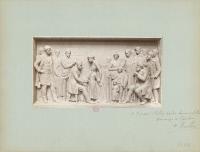 Un des deux bas-reliefs du Monument à Louis Pasteur à Arbois, scène de vaccination