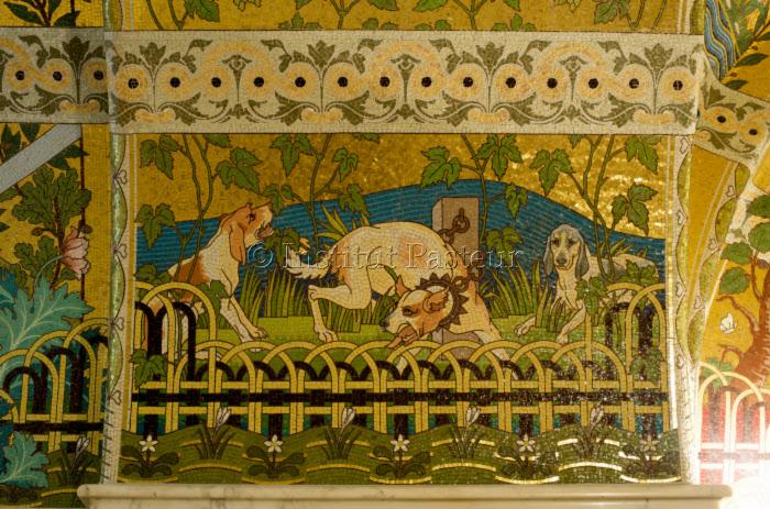 Mosaïque dans la chapelle funéraire où repose Louis Pasteur, Musée Pasteur, Paris.