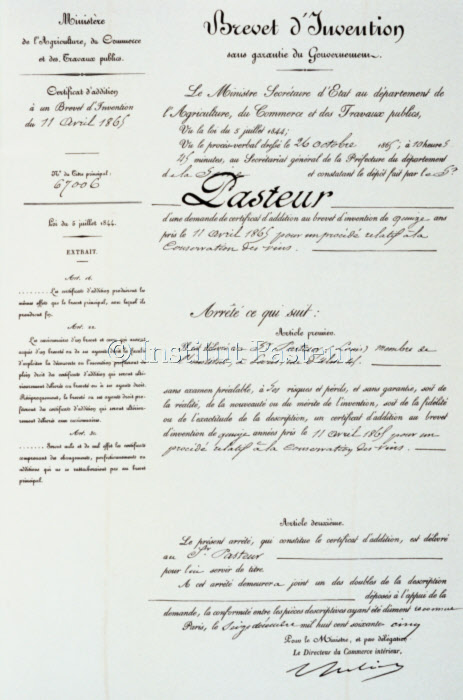 Brevet de Louis Pasteur pour la conservation des vins, 11 avril 1865