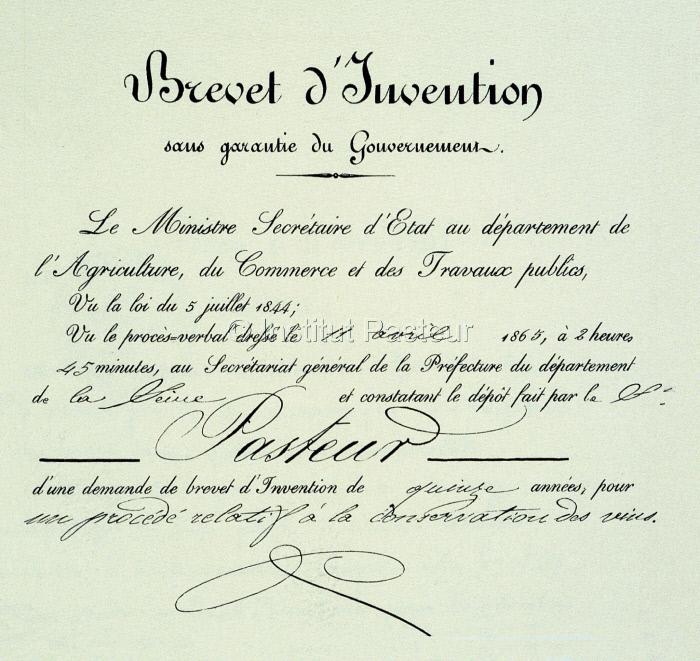 Brevet d'invention pour un procédé de conservation des vins par Louis Pasteur le 11 avril 1865.
