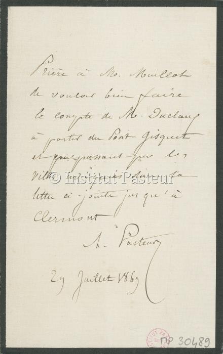 Note de Louis Pasteur à Eugène Maillot